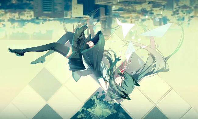 Shattered Iphone X Wallpaper Wallpaper Hatsune Miku Falling Down Shattered Vocaloid