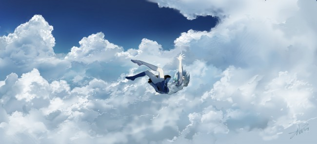 Late Fall Iphone Wallpaper Wallpaper Anime Girl Falling Down Clouds Sky School