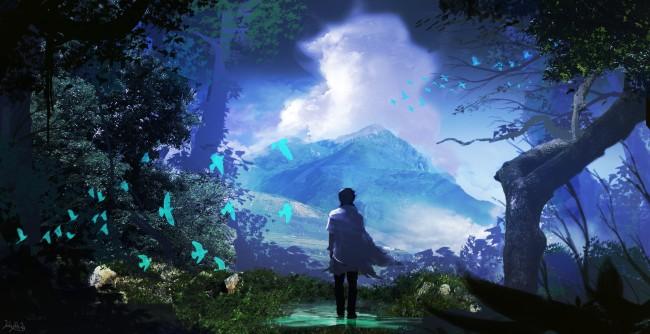 Beautiful Cute Cartoon Wallpapers Wallpaper Fantasy Boy Landscape Mountain Trees Birds