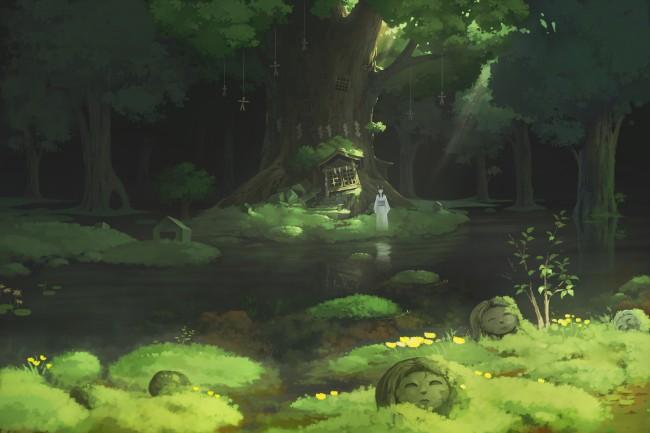 Anime Jungle Girl Wallpaper Wallpaper Anime Girl Forest Water Trees Traditional