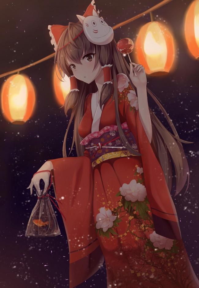 Kitsune Anime Girl Wallpaper Wallpaper Hakurei Reimu Kimono Lanterns Mask Festival