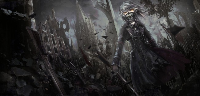 Goth Girl Wallpaper 1440x2960 Wallpaper Anime Girl Mask Gothic Sword Dark Short