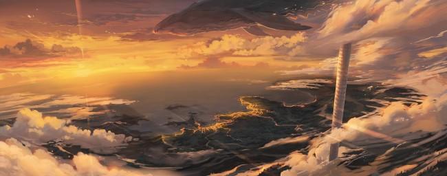 Animated Wallpaper For Tablet Wallpaper Anime Landscape Creature Horizon Sunset