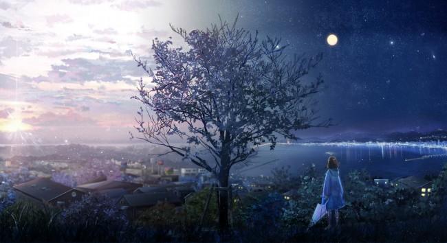 Sad Girl Wallpaper For Phone Wallpaper Anime Girl Lonely Tree Moon Stars Sunrise