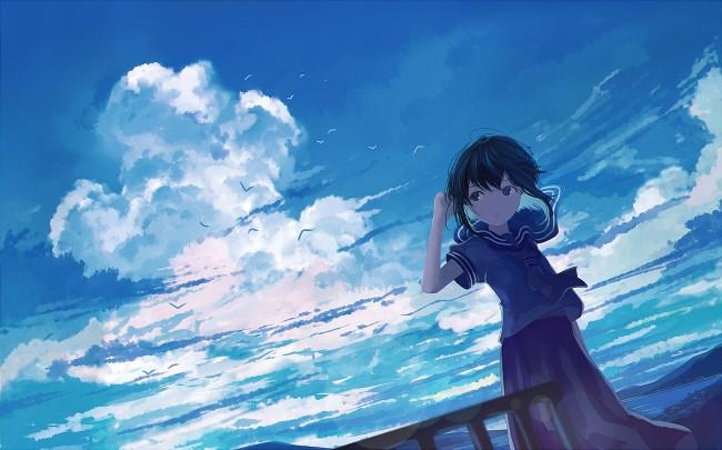 Iphone 4s Anime Wallpaper Wallpaper Anime Girl Clouds School Uniform Wind Birds