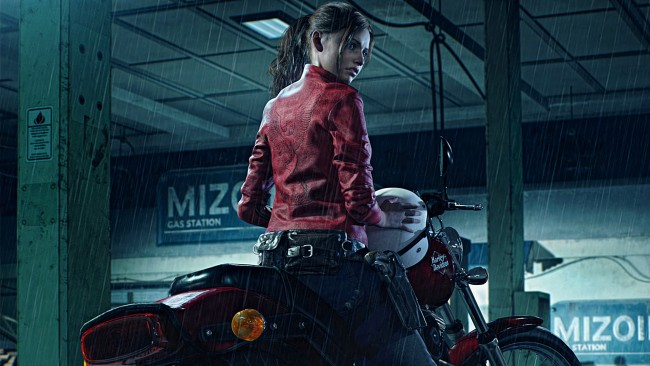 Iphone X Official Wallpaper Hd Download Wallpaper Claire Redfield Resident Evil 2 Motorcycle