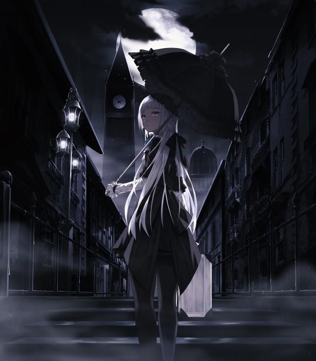 Kitsune Girl Hd Wallpaper Wallpaper Anime Girl Umbrella Dark White Hair Umbrella