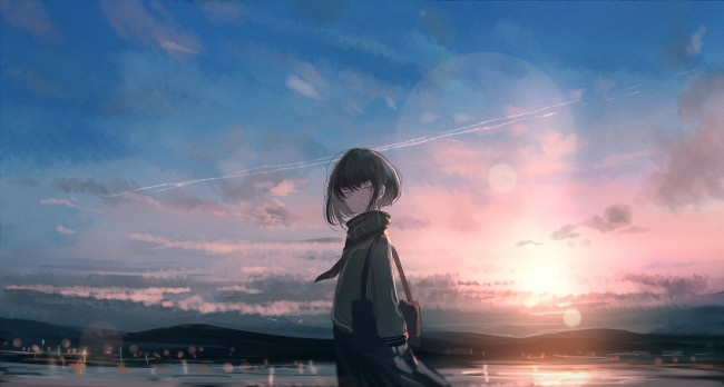 Hi Res Iphone X Wallpaper Wallpaper Anime Girl Sky Clouds Sunset Wallpapermaiden