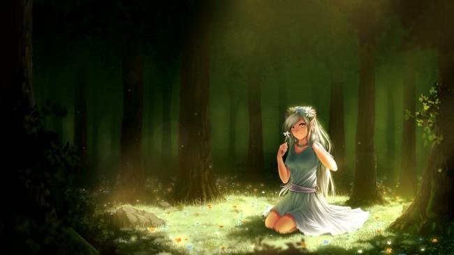 Anime Girl X1200 Wallpaper Anime Elf Girl Choker Forest Smiling Green