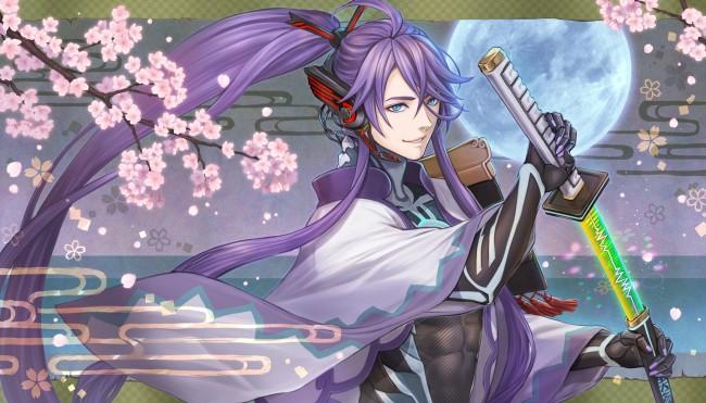 Iphone 4s Anime Wallpaper Wallpaper Kamui Gakupo Anime Boy Katana Purple Hair