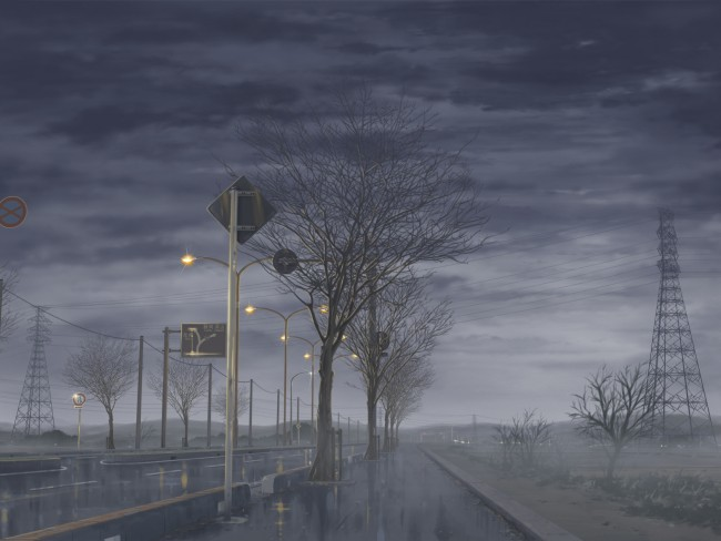 Iphone 5c Fall Wallpaper Wallpaper Anime Street Dark Clouds Sky Scenic Rain