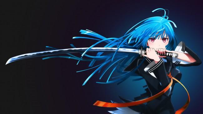 Creepy Little Girl Wallpaper Art Wallpaper Anime Girl Katana Blue Hair Wallpapermaiden