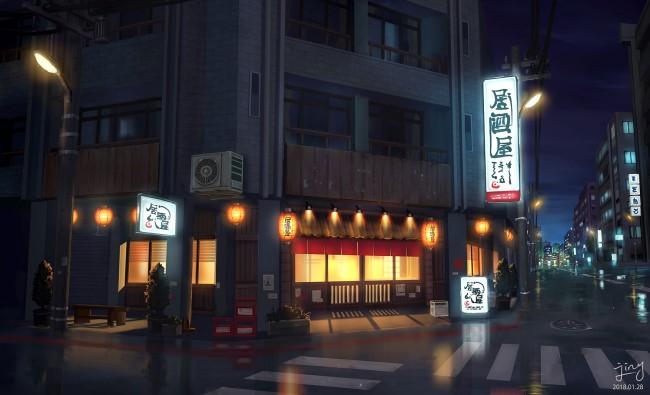 Iphone 4s Anime Wallpaper Wallpaper Anime Street Restaurant Night Scenic