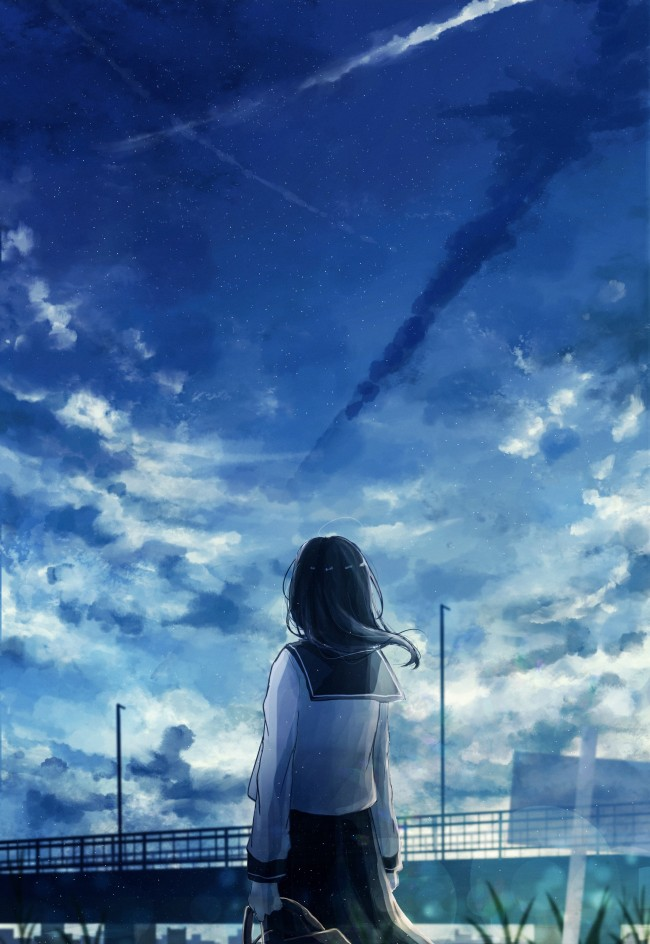 Girl Wallpaper For Windows Phone Wallpaper Anime Landscape School Girl Back View Clouds