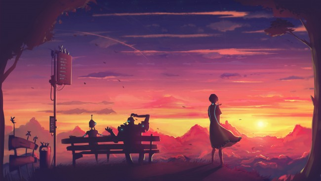 A Girl Waiting Wallpaper Wallpaper Futuristic Anime Girl Sunset Robot Bench