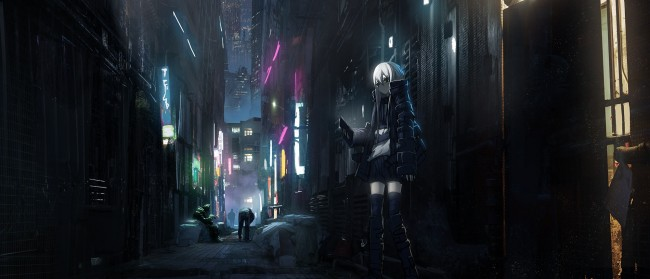 Vaporwave Wallpaper Girl Download 1024x600 Anime Dark City Skyscrapers Back