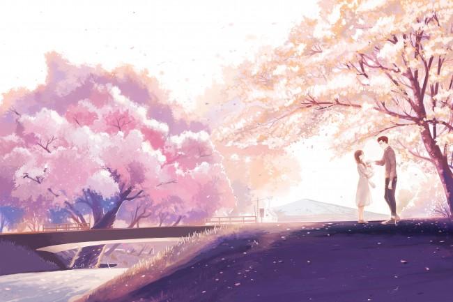Iphone X Cherry Blossom Wallpaper Wallpaper Anime Couple Cherry Blossom Romance River
