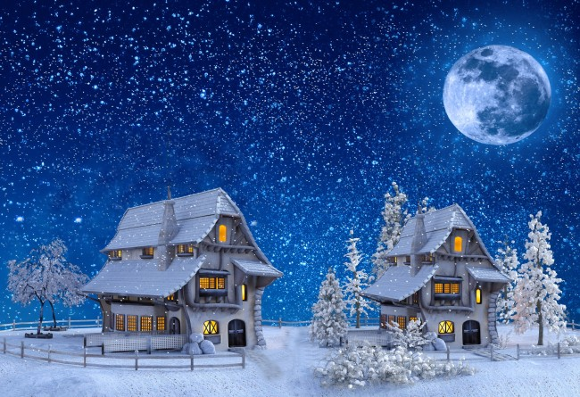 Xmas Wallpaper Iphone Wallpaper Christmas Snow Houses Moon Stars 3d Model