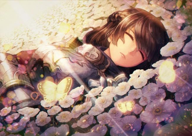 Iphone 5s Girl Wallpaper Wallpaper Anime Girl Sleeping Lying Down Armor Flowers