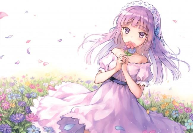 Pink Ribbon Iphone Wallpaper Wallpaper Anime Girl Headband Dress Flowers Petals
