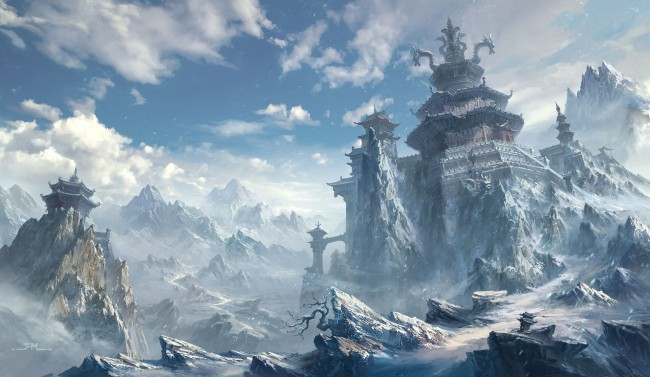 Chinese Dragon Wallpaper Hd Wallpaper Fantasy World Castle Towers Dragons Snow
