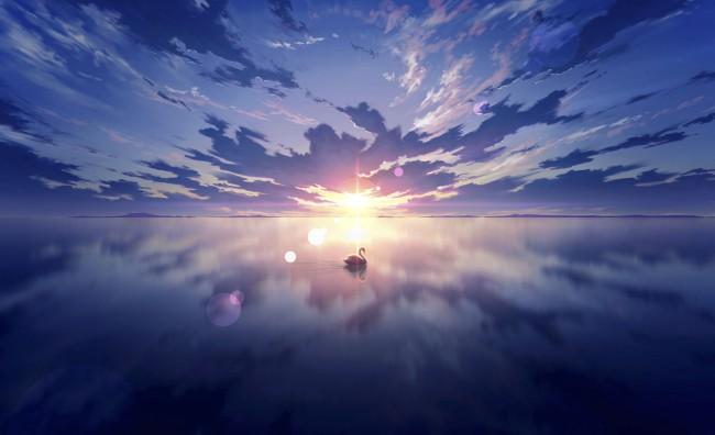 Laptop Anime Girl Wallpaper Wallpaper Anime Landscape Beyond The Clouds Sunset Lens