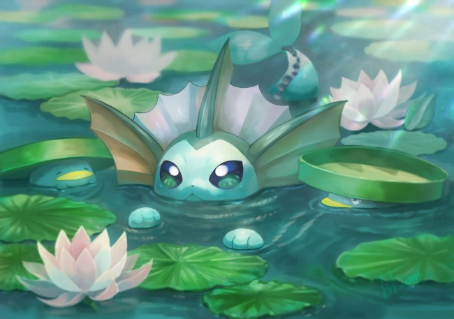 5 Inch Screen Hd Wallpapers Wallpaper Vaporeon Pokemon Swimming Cute Lotad