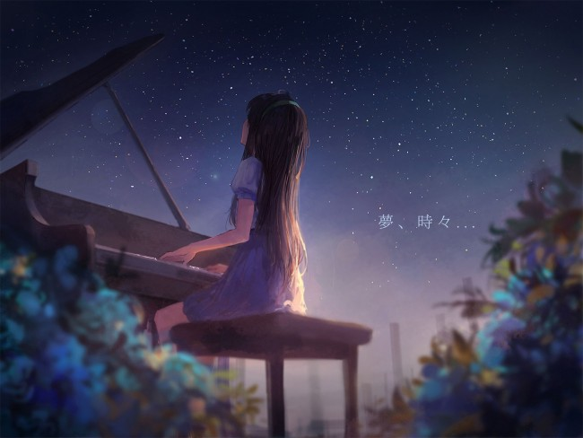 Piano Wallpaper Iphone Wallpaper Anime Girl Playing Piano Scenic Back View