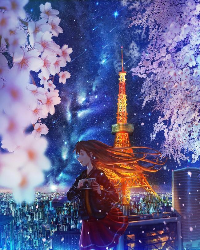 Iphone 4s Anime Wallpaper Wallpaper Anime Girl Tokyo Tower Scenic Sakura Blossom