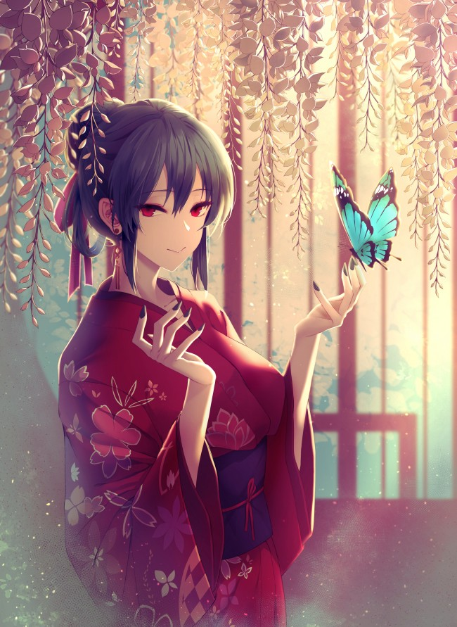 Anime Red Hair Girl Wallpaper Wallpaper Anime Girl Kimono Blue Butterfly Short Hair