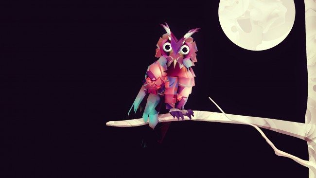 Wallpaper Cute Pink For Iphone 6 Wallpaper Owl Moon Low Poly Art Minimalism
