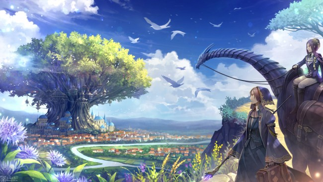Steampunk Iphone Wallpaper Wallpaper Anime Fantasy World Giant Tree Birds Clouds