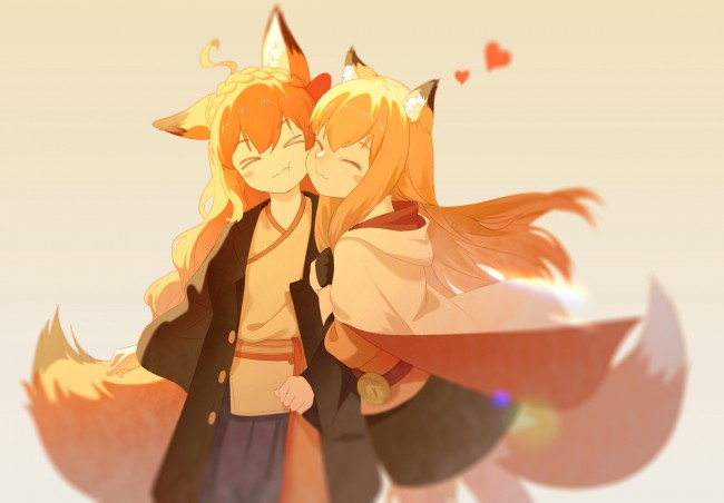 Download 640x960 Anime Fox Girls Animal Ears Friends Orange Hair Wallpapers For Iphone 4 4s Wallpapermaiden