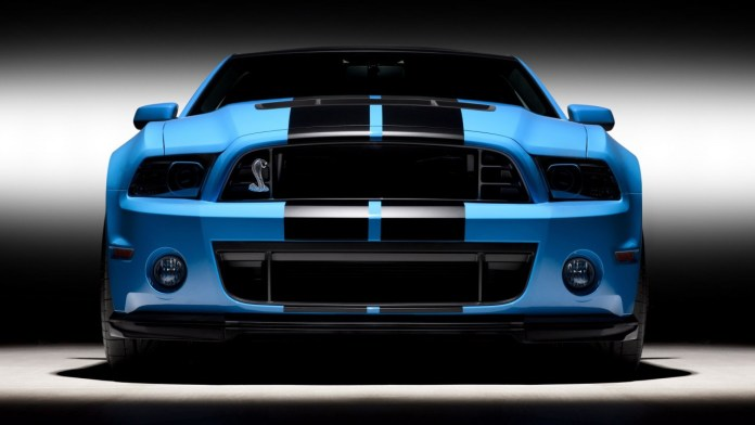 download 1280x720 ford mustang shelby gt500, blue, front view, cars