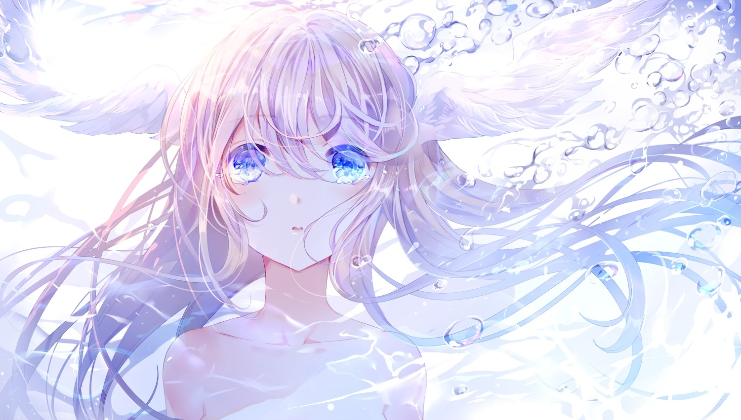 Pretty Anime Falling Angel Wallpapers 1920x1080 Hd Download 3840x2160 Anime Girl Crying Tears Wings