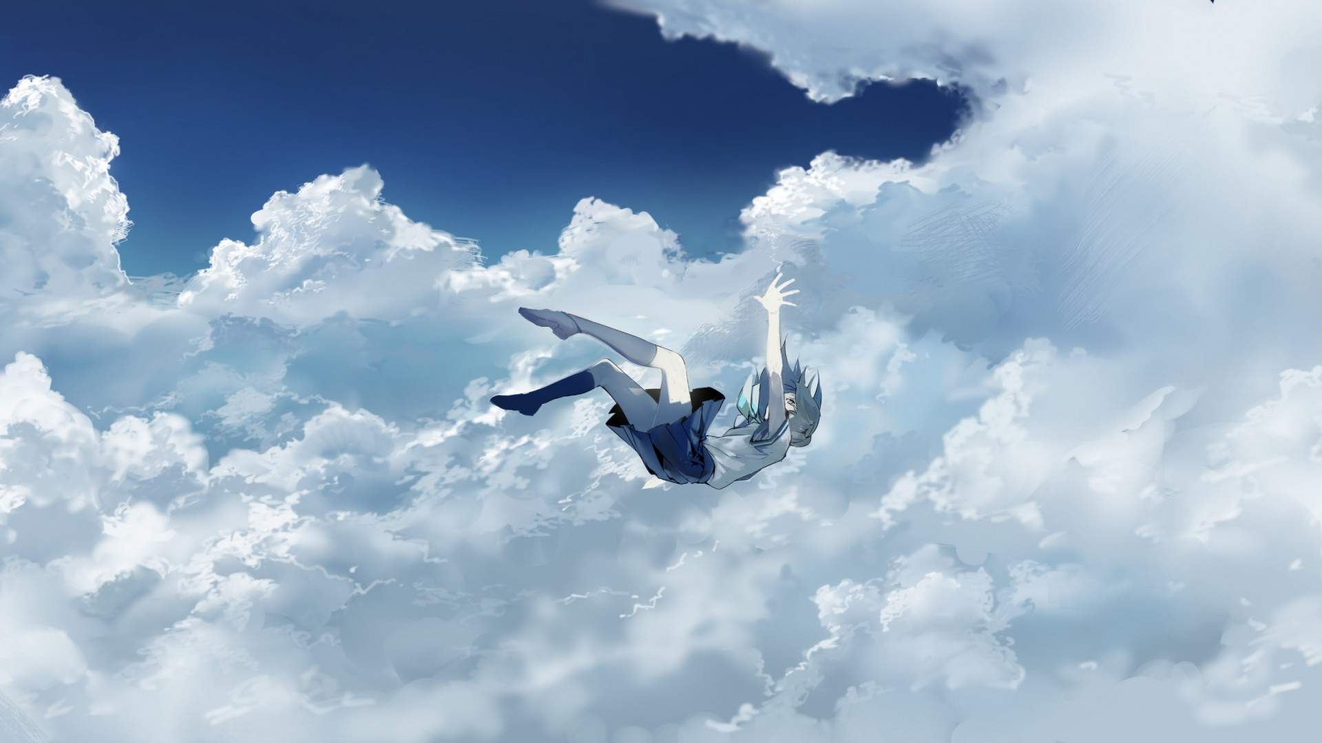 Girl Falling Through The Air Wallpaper Download 1920x1080 Anime Girl Falling Down Clouds Sky
