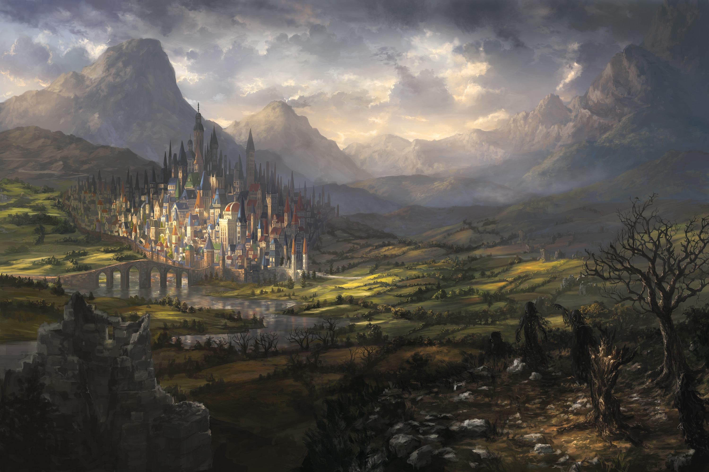 Fall Desktop Wallpaper Themes Download 2560x1600 Fantasy Landscape Castle City