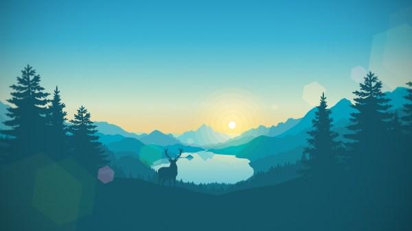 1280x800 Flat Landscape Minimalism Deer Lake