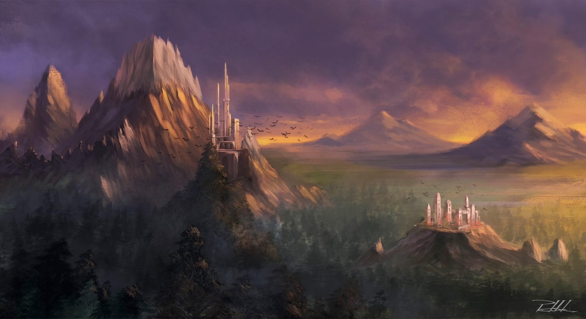 Fall Pixel Art Iphone Wallpaper Download 3840x2160 Fantasy Landscape Castle Mountain