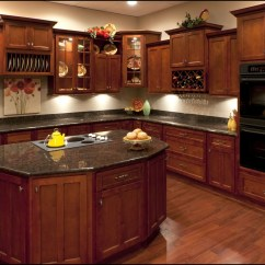 Cherry Kitchen Cabinets Soup Kitchens In Chicago Dark Wood With Black
