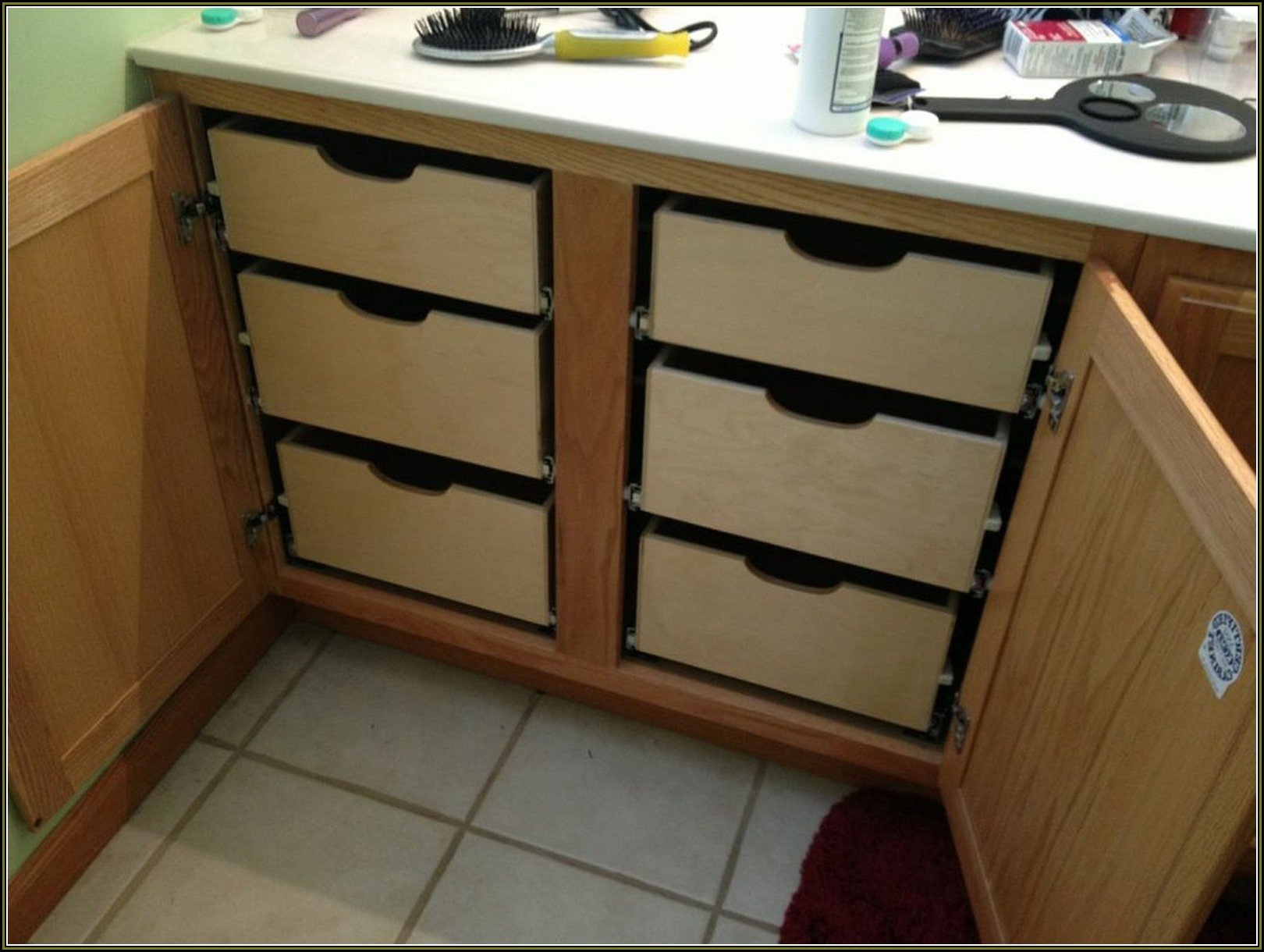 kitchen pull out drawers corner sink how to make in cabinets 8