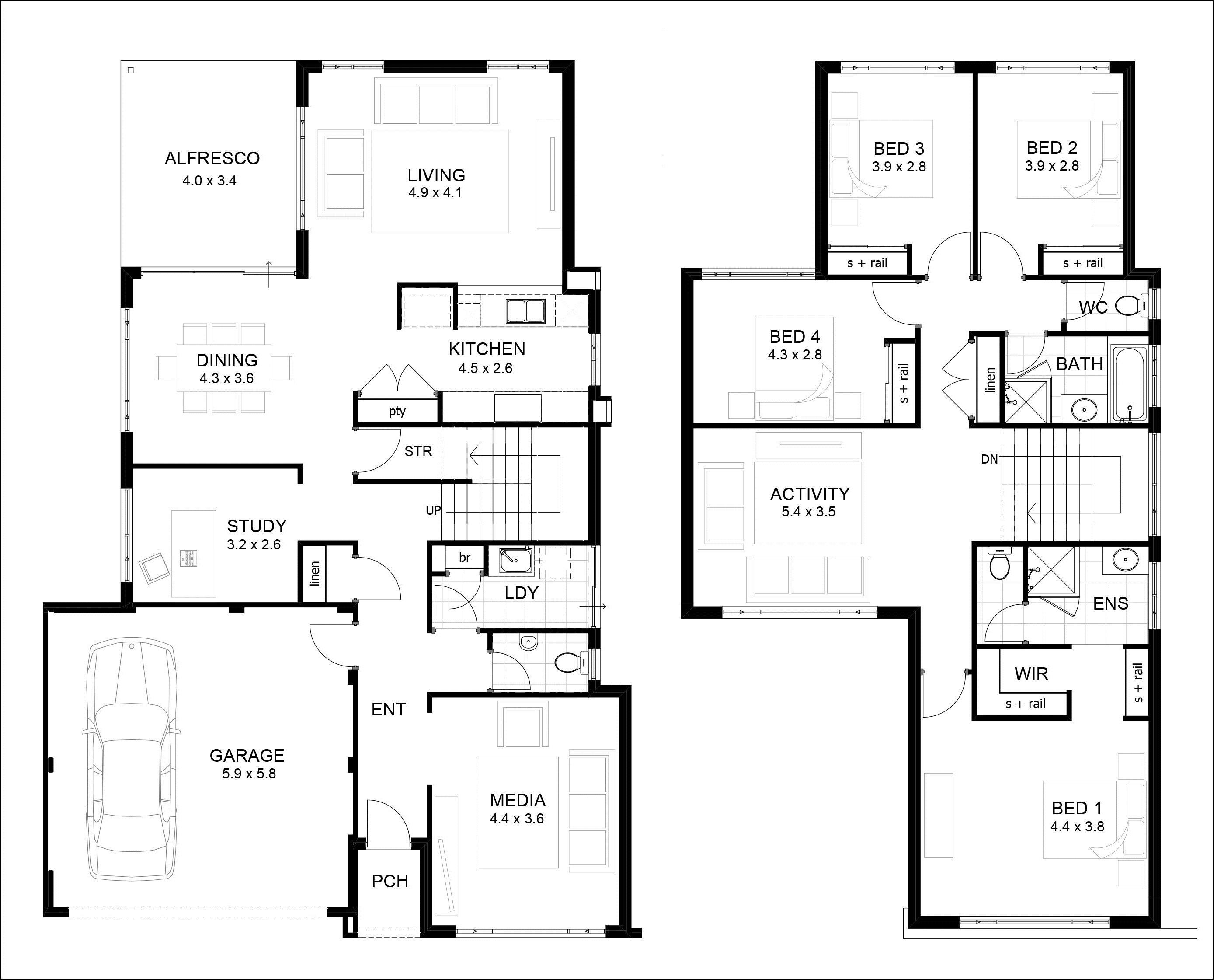 Contemporary Two Story Residence Floor Plans Contemporary