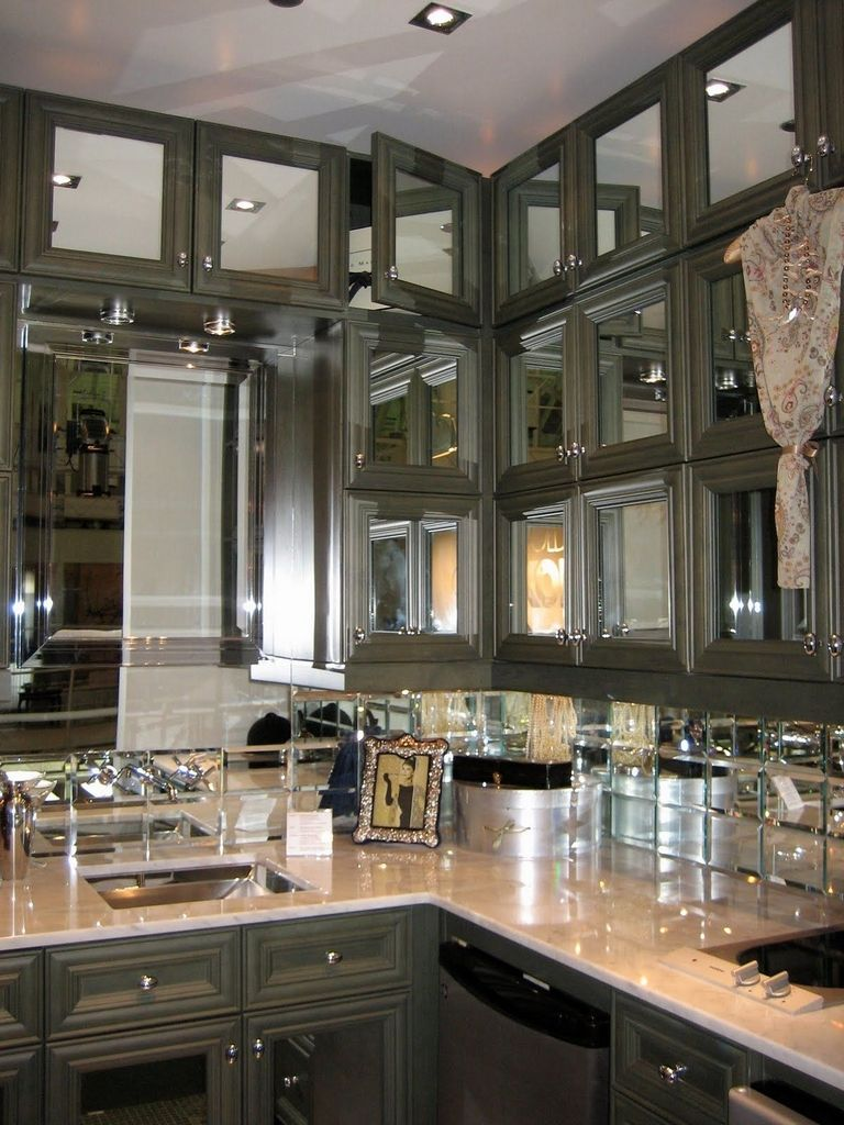 Mirrored Kitchen Cabinets