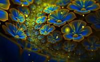 Glowing Flowers Blue & Yellow-Wallpaper Hd : Wallpapers13.com