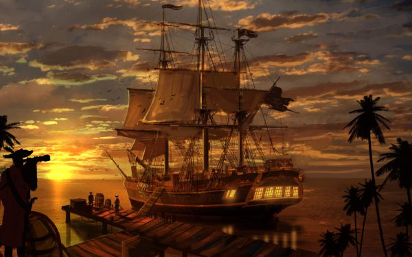 Pirate Ships Sunset Reflection Fantasy Art