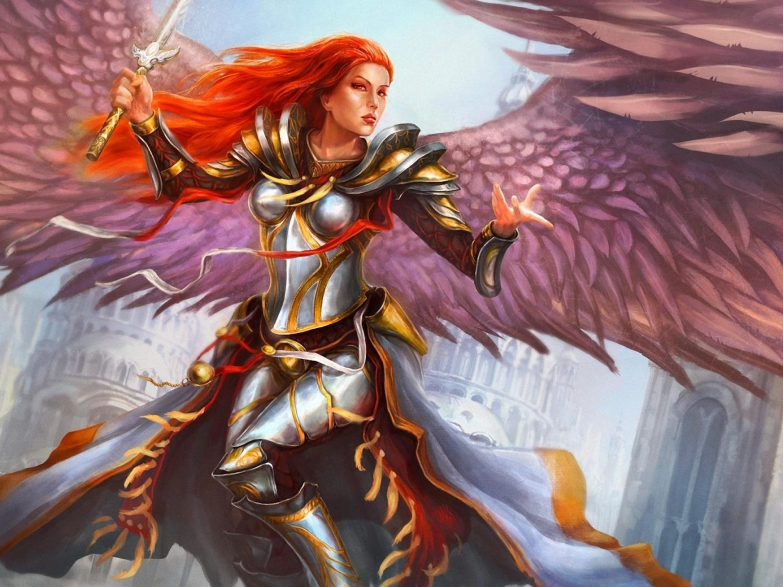 Girl Tablet Wallpapers Angel Redhead Fantasy Girl Feather Wings Ultra 3840x2160