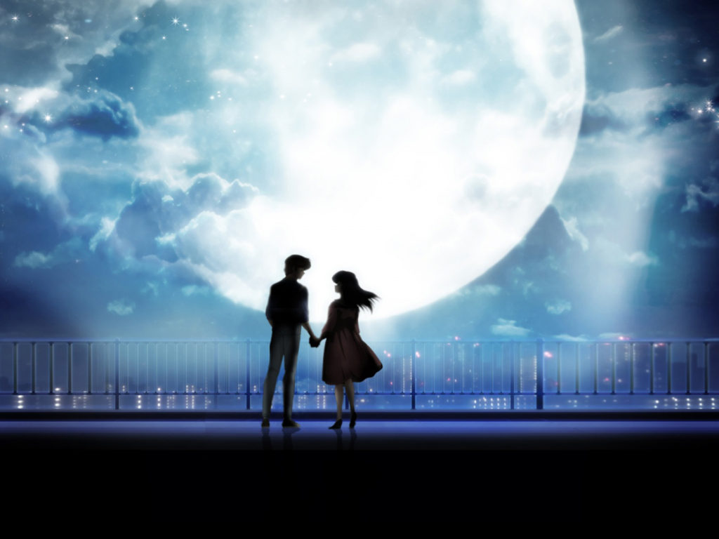 Big Size Wallpapers With Quotes Anime Art Anime Couple Holding Hands Moonlight Desktop
