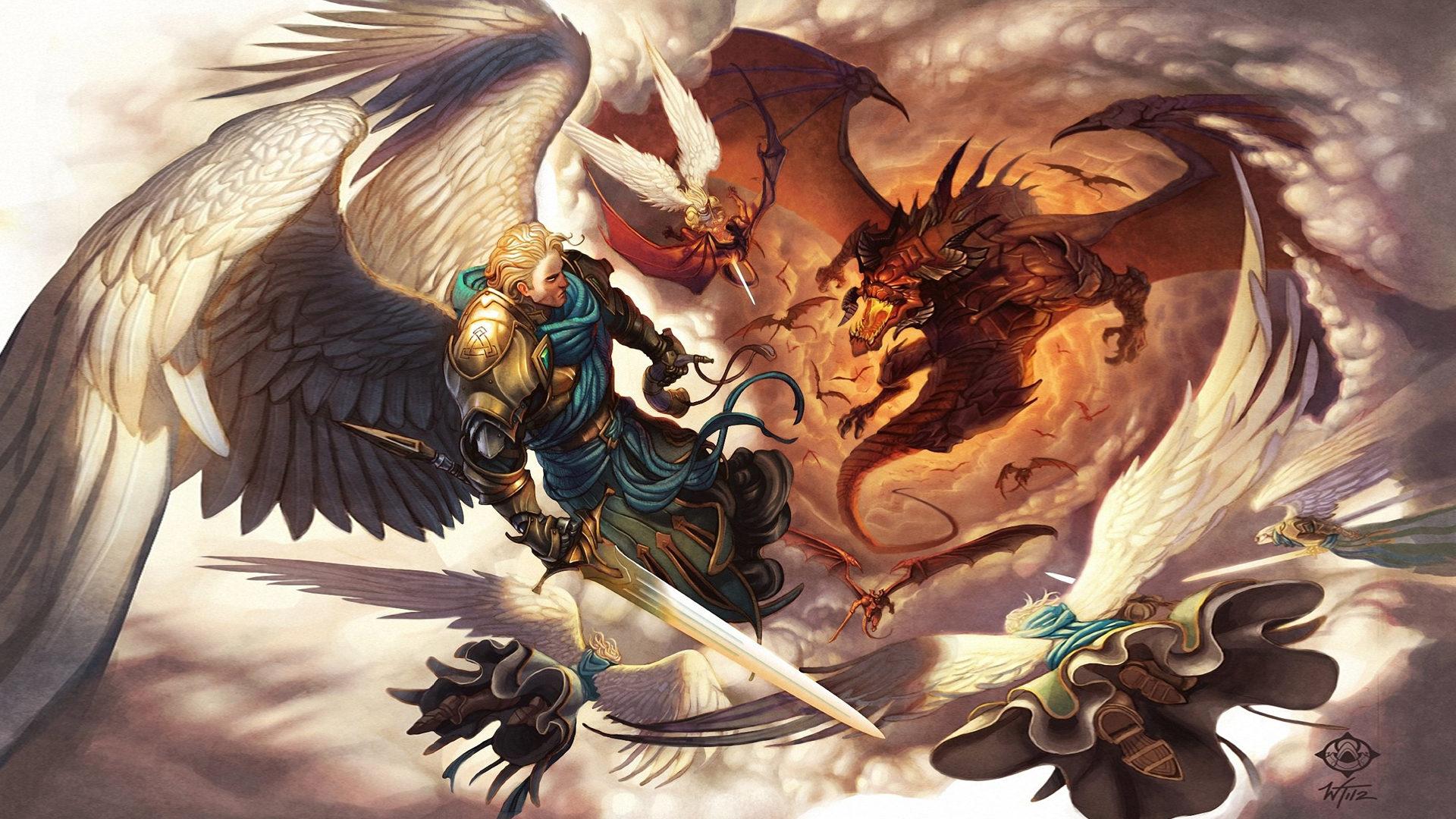 Archangel Michael Hd Wallpaper Battle With Dragon Angel Sword Armor Wing Flight Fantasy