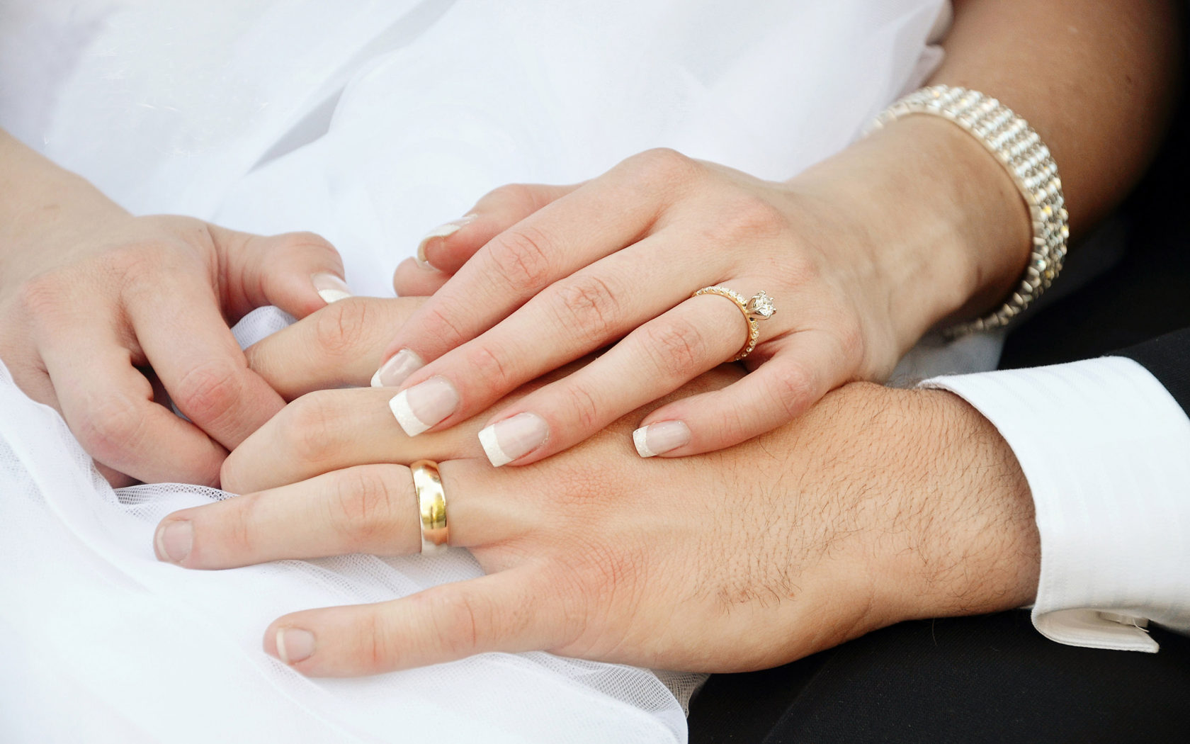 Bride And Groom Hands And Wedding Rings