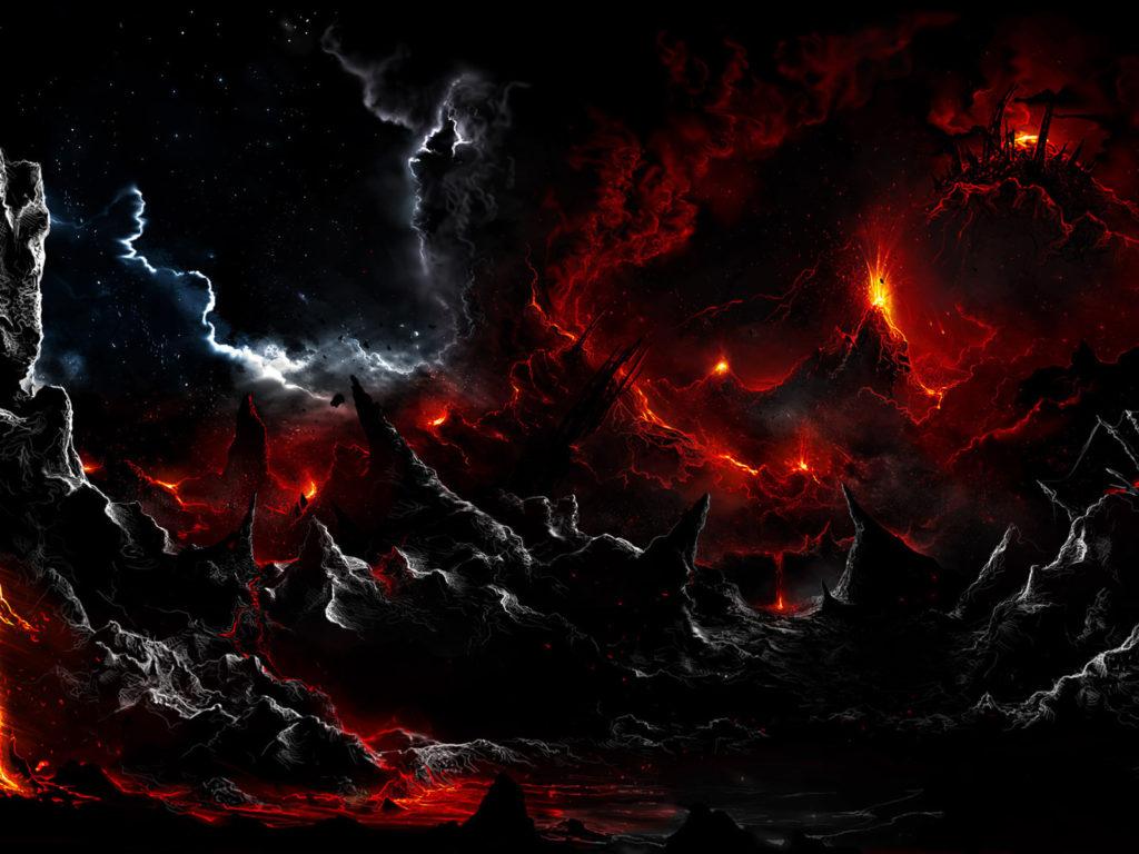 Tree Girl Wallpaper Dark Dark Volcano Smoke Eruption Lava Fantasy Landscapes Stars